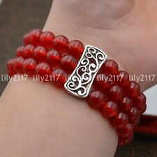 Natural 3 rows 8mm red ruby Beads Stretch Tibetan silver Gems Bracelet 7.5'' AAA