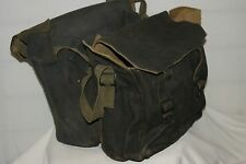 POST WW2 PAIR OF ARMY MOTORCYCLE PANNIERS MILITARY HEAVY DUTY CANVAS GREY BIKE