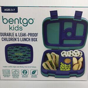 Bentgo Kids Lunch Box Bento-Styled Durable & Leak Proof Sharks Blue NIB (HG2)