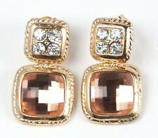 Women's Gold tone Square Champagne Crystal Stud Earrings