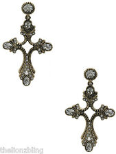"Vintage style Aged Finish Gold with Crystal Bling Cross Earrings 2 1/4"" Drop"