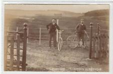 More details for entrance, lindean reservoir: selkirkshire postcard - men with bicycles (c61692)