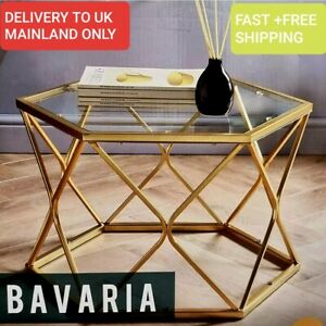 Bavaria Coffe Table, Gold Finish Metal Base And Clear Glass Top