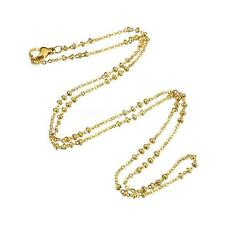 Gold Plated Fashion Women Beads Stainless Steel Jewelry Long Necklace Chain