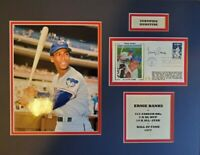 Autographed Ernie Banks (Chicago Cubs) H.O.F. Photo Display w/ JSA C.O.A.