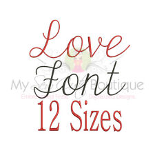 LOVE SCRIPT ALPHABET FONT MACHINE EMBROIDERY DESIGNS - 12 SIZES - IMPFCD61
