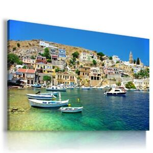 GREECE SEA BEACH PERFECT View Canvas Wall Art Picture L38 MATAGA UNFRAMED-ROLLED