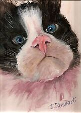 Cat Art Pet Portrait RagDoll Kitten 9x12 Original #painting by Penny Lee StewArt