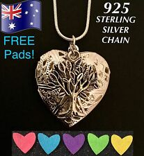 Tree of Life Oil Diffuser Heart Pendant 925 Sterling Silver Chain Necklace +Pads