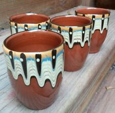 Red Clay Southwest Tribal Cups Drip Glazed Hand Painted Pottery 4 Piece Set 3.5""