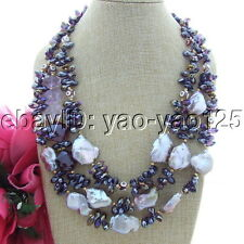 S102604  20' 3 Strands Purple Keshi Pearl Amethyst Agate Necklace
