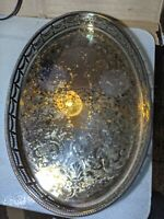 SHEFFIELD Reproduction EPNS SILVER PLATE GALLERY FLORAL CHASED DRINKS TRAY mark
