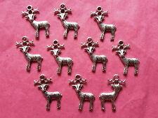 Tibetan Silver Deer/Stag/Reindeer Charms 10 per pack xmas/christmas