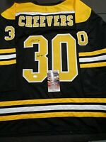Gerry Cheevers Boston Bruins Autographed Signed Black Style Jersey XL coa=JSA