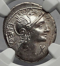 Roman Republic 110BC Rome CITIZEN Punishment LAW Ancient Silver Coin NGC i59955