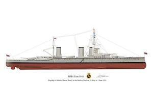 HMS Lion 1910 Vintage Battleship Profile Artwork A4 / A5 Print signed