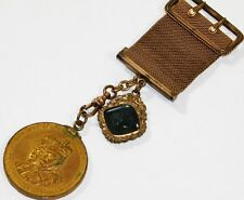 ATQ 1902 KING EDWARD VII CORONATION MEDAL & GREEN STONE CAMEO GF WATCH FOB CHAIN