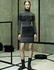 Alexander Wang H&M Jacquard-Knit Stretch Body Con Bandage Dress Black Grey  Sz S