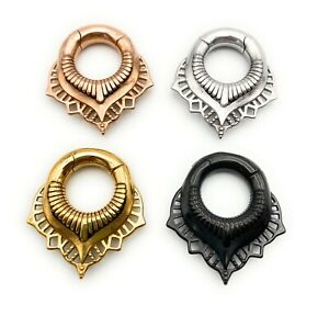Elegant Ornate Round Surgical Steel Black, Gold, Silver Ear Weights Hangers