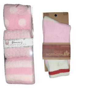 Great Northern Ladies Socks 1 Pair & Women Cozy Socks 3 Pair Pack