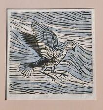 """Descent"" Bird in Downward Flight Woodcut-6/35-1970- Jan Gary"