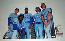 BREWERS Robin Yount Gorman Simmons Cooper Oglivie signed 16x20 photo JSA AUTO