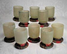 Ten Antique Asian Hand Carved Translucent Light Green Celadon Jade Tea Cups