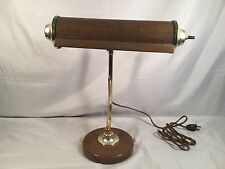 Vtg Steampunk Brass Piano Desk Lamp Faux Wood Metal Music Note Treble Clef Rare