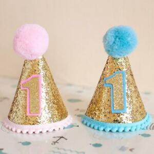 Kids Circular Cone Birthday Hat 1st-2rd Newborn Toddlers Birthday Party Crowns