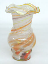 End of Day Style Hand Blown Glass Ruffled Rim Vase 657B