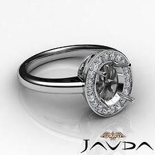 Halo Setting Diamond Engagement Ring 18k White Gold Oval Shape Semi Mount 0.36Ct