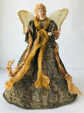 Elegant Angel Tree Topper Brocade Robe Wings with Feathers & Sequins16""