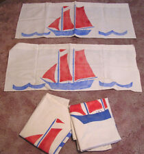 Vintage 1930s Art Deco Drapery Red White Blue Sailboats Lakeside Cottage Decor