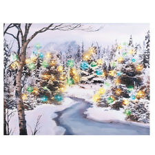 Lighted Snowy Forest Scene Christmas LED Wall Canvas