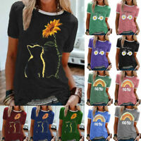 Womens T Shirt Ladies Short Sleeve Loose Casual Cat Daisy Basic Tee Blouse Tops
