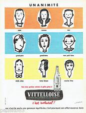 PUBLICITE ADVERTISING 106  1958  La Vittelloise eau minérale  par J.Jacquelin