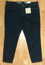 "NWT SONOMA ""Knit Jean"" Womens Sz 16PS Slim Straight Mid Rise Jeans Dark Wash New"
