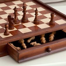 "Vintage 19"" Wooden Chess and Checkers Set Board Wood Table Game w/ Storage"