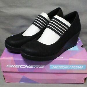 SKECHERS RUMBLERS SPACE ODYSSEY Womens slip on mid wedge black shoe SZ 8.5 M New