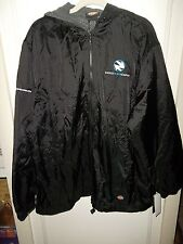 Dickies Nylon Hooded Jacket Large Black Zipper Water Resistant Cargo Fleece