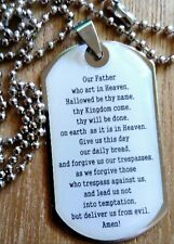 Lords prayer Jesus Christ Dog Tag Cross Christian Bible Verse Pendant Necklace