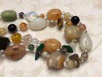 "Vintage Necklace Strand of Natural Multicolor Crystals, Quartz Beads, Stones 26"""