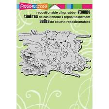 Stampendous Rubber Stamps - Teddy Bear Sled, Toboggan, Tobogganing, Winter, Snow