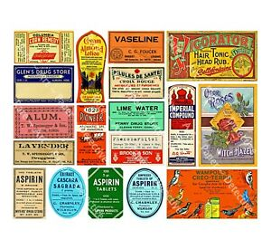 Apothecary Labels & Drug Store Pharmacy Decor, 18 DRUGGIST LABELS, Sticker Sheet