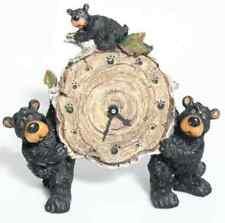 "Willie Black Bear with Cub Holding a Birch Log Clock 8"""