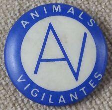 Unusual Vintage Animals Vigilantes Pinback Badge, 25cm Round. Political?
