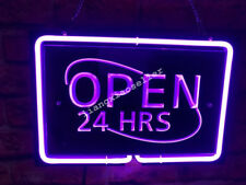OPEN 24 HOURS Purple 3D Acrylic Beer Bar Pub Store business  Neon Light Sign
