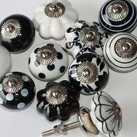 Möbelknopf,Keramik-Möbelgriff,Knauf,Knopf Griff Möbelknäufe Indien Schwarz-Weiß