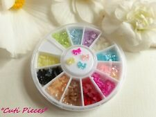 3D Nail Art Tiny 'Pearl BT Bows' Bow-Tied Wheel Pot over 180pcs Flat Back Gems