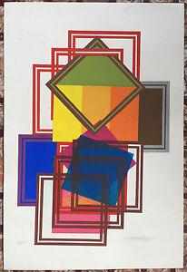 Eli Barreto Serigraph Collage1976 Puerto Rico Optic Abstract Art